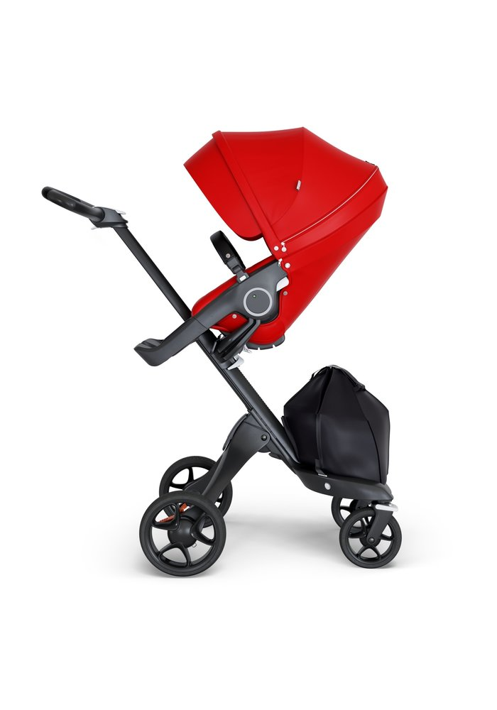 Stokke Xplory Black Chassis -Stroller Seat Red and Black Handle