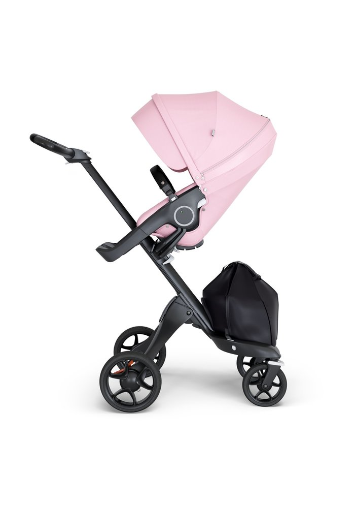 Stokke Xplory Black Chassis -Stroller Seat Lotus Pink and Black Handle
