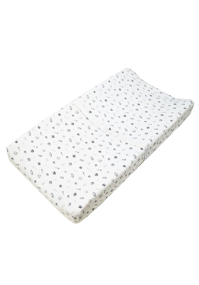 American Baby Changing Pad Sheet In Gray / Navy Sports