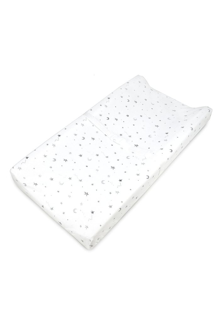 American Baby Changing Pad Sheet In Gray Stars & Moon