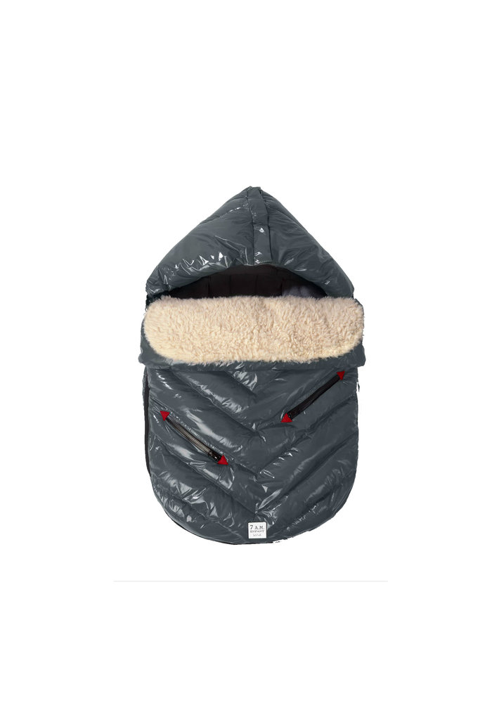 7 A.M. Enfant Polar Igloo Infant Footmuff In Graphite- Newborn - 12 Months