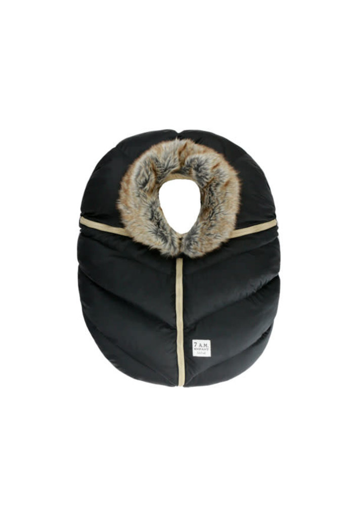 7 A.M. Car Seat Cover - Cocoon In Black Faux Fur 0-12 Months