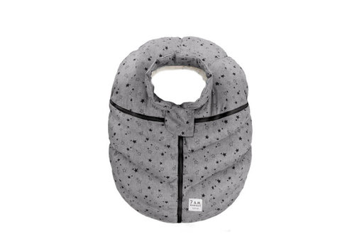 7 AM 7 A.M. Car Seat Cover - Cocoon In Heather Grey Stars 0-12 Months