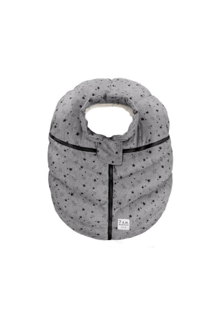 CLOSEOUT!! 7 A.M. Car Seat Cover - Cocoon In Heather Grey Stars 0-12 Months