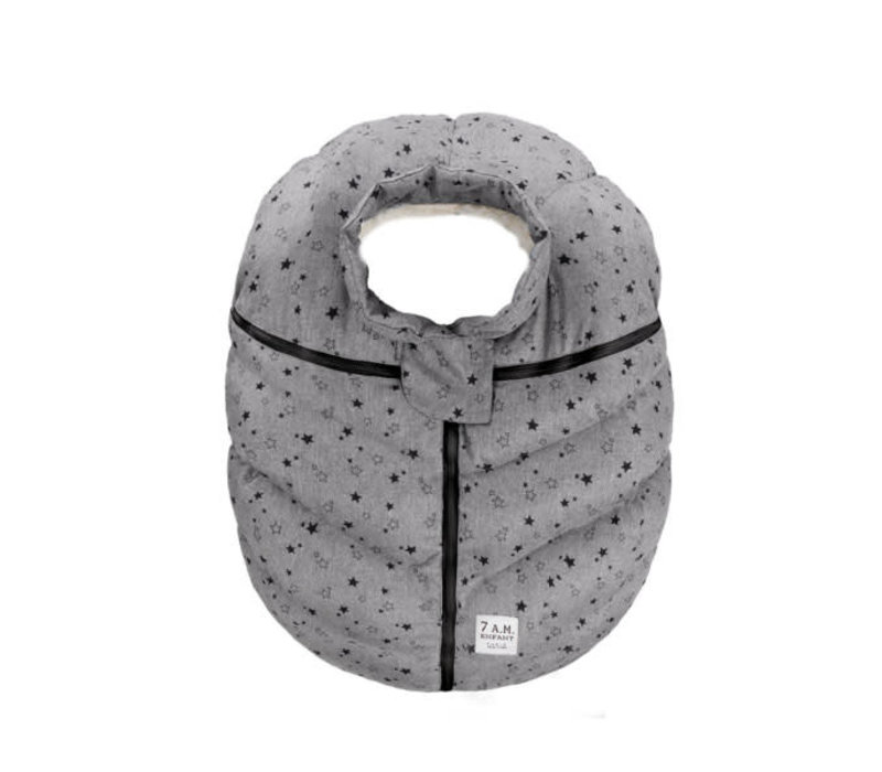 7 A.M. Car Seat Cover - Cocoon In Heather Grey Stars 0-12 Months