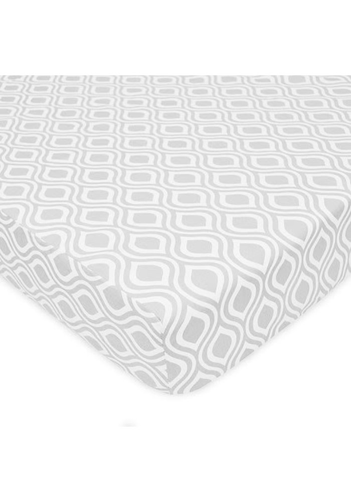 American Baby Percale Crib Sheet Gray Ogee