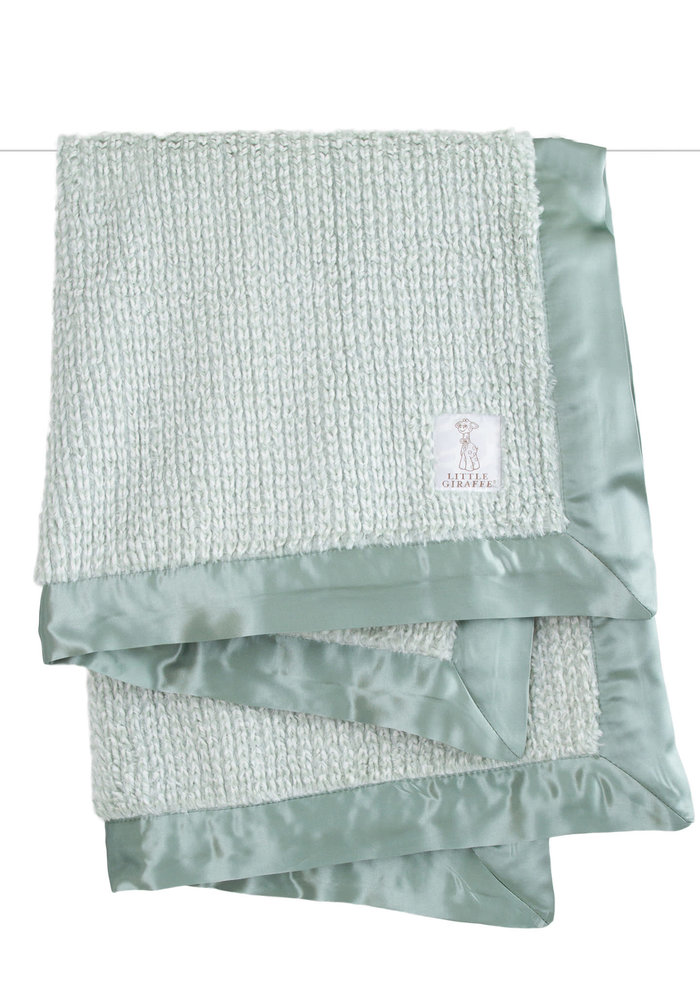 Little Giraffe Luxe Herringbone Blanket In Sage