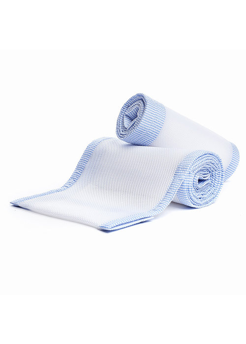 Breathable Baby Breathable Baby Breathable Mesh Crib Liners In White-Lt Blue Seersucker
