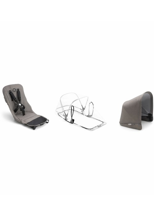 Bugaboo CLOSEOUT!! 2019 Bugaboo Donkey2 Duo Mineral Fabric Set Base In Taupe  (Box 5)