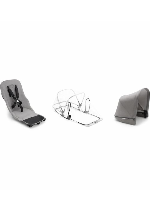 Bugaboo CLOSEOUT!! 2019 Bugaboo Donkey2 Duo Mineral Fabric Set Base In Light Grey(Box 5)