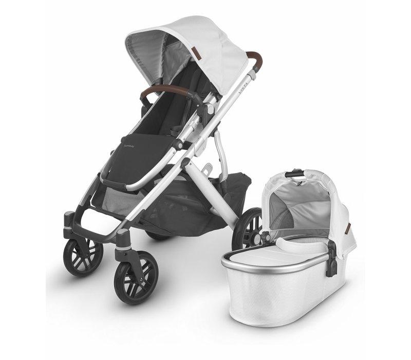 2020 Uppa Baby Vista V2 Stroller In Bryce (White Marl/Silver/Chestnut Leather)