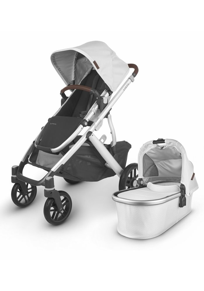 2020 Uppa Baby Vista V2 Stroller In Bryce (White Marl/Silver/Chestnut Leather)