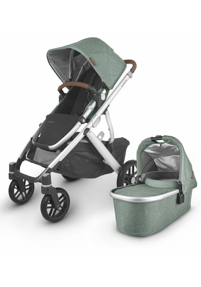 2020 Uppa Baby Vista V2 Stroller In Emmett (green mélange/silver/saddle leather))