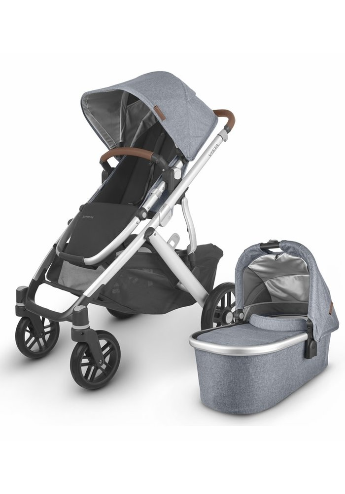 2020 Uppa Baby Vista V2 Stroller In Gregory (blue mélange/silver/saddle leather)