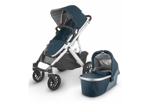 UppaBaby 2020 Uppa Baby Vista V2 Stroller In Finn (deep sea/silver/chestnut leather)