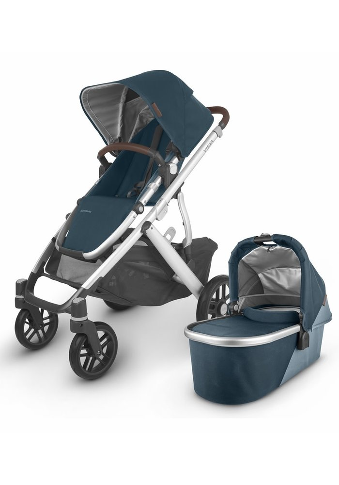 2020 Uppa Baby Vista V2 Stroller In Finn (deep sea/silver/chestnut leather)