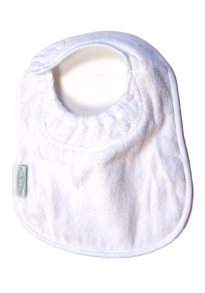 SillY BillyZ Snuggly Toweling Biblet  0-2 Years In White