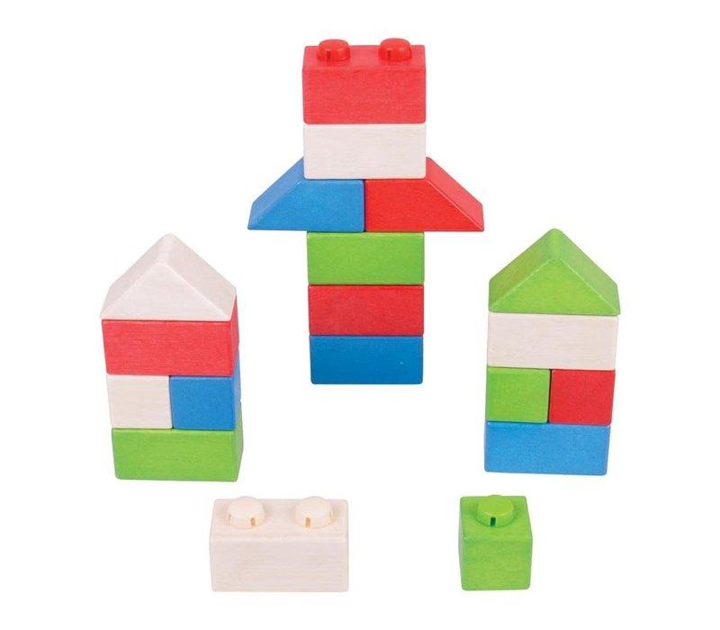 Bigjigs Toys Click Blocks (Primary Basic Pack)