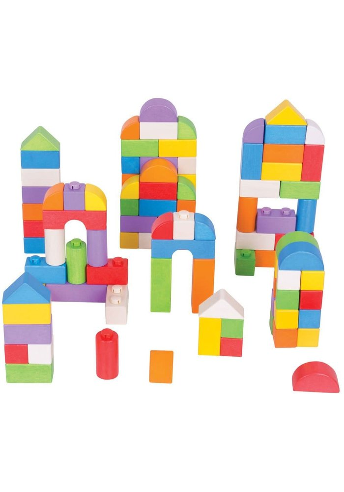 Bigjigs Toys Coloured Click Blocks (100 Pieces)
