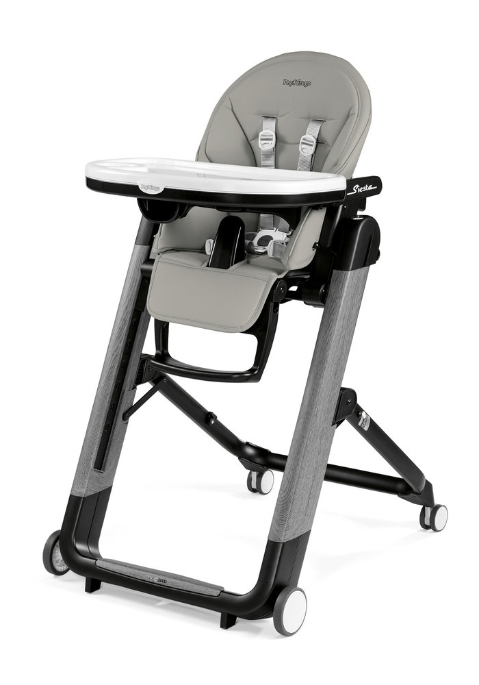 Peg Perego Prima Siesta High Chair In Ambiance Grey-Light Grey Eco Leather (Grey Chassis)