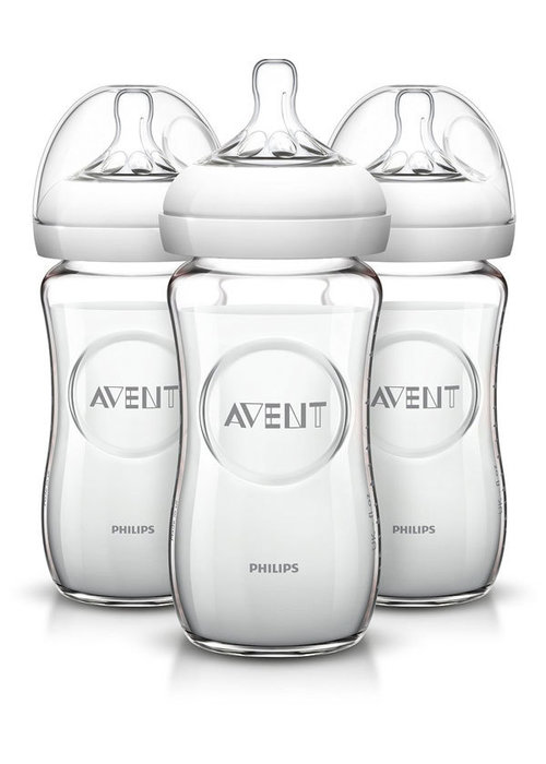 Avent Philips AVENT Natural Glass Bottle, 8 Ounce (Pack of 3)