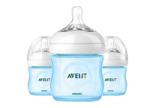 Avent Philips Avent Natural 4 Ounce BPA Free Bottle, 3 Pack In Blue