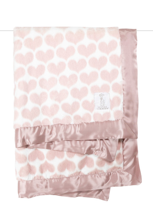 Little Giraffe Little Giraffe Luxe Heart Army Blanket In Dusty Pink
