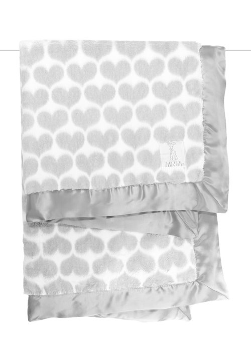 Little Giraffe Little Giraffe Luxe Heart Army Blanket In Silver