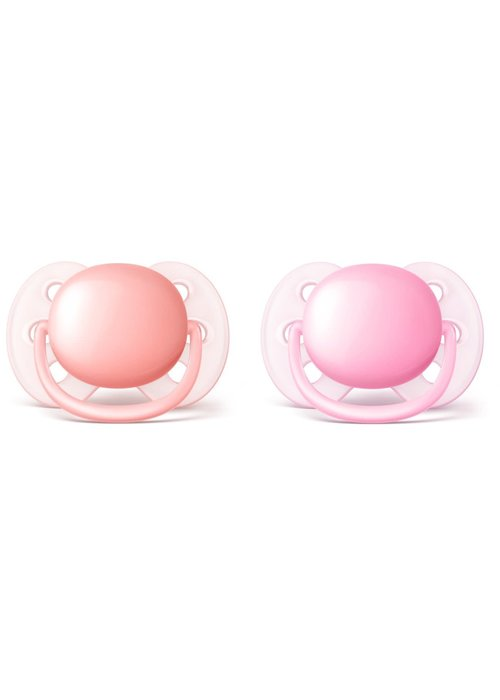 Avent Philips Avent Ultra Soft Pacifier, 0-6 months 2 pack Pink-Peach