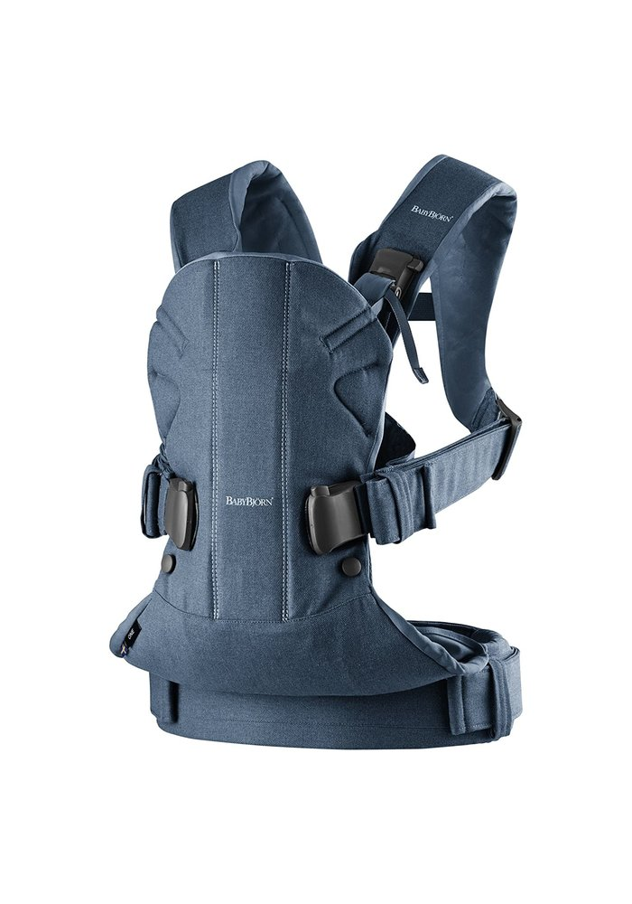 BABYBJORN Baby Carrier One, Cotton In Classic Denim/Midnight Blue