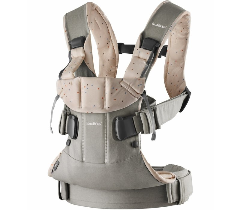 BABYBJORN Baby Carrier One, Cotton In Classic Grey/ Pink Sprinkles (OTO)