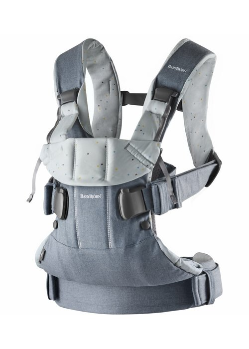 Baby Bjorn BABYBJORN Baby Carrier One, Cotton In Light Denim Blue/ Blue Sprinkles (OTO)