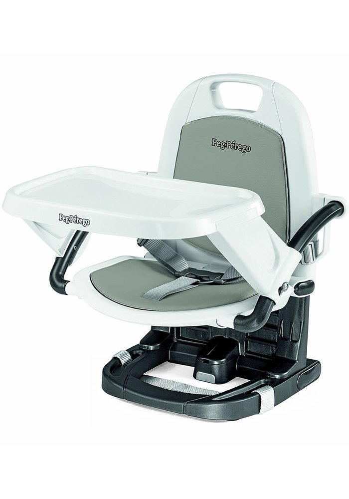 Peg Perego Rialto Booster Seat Highchair In Ice- Light Grey
