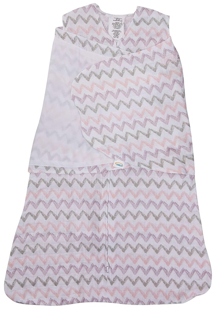 HALO SleepSack Swaddle Cotton Muslin Pink Chevron Size, Small