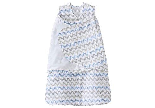 Halo HALO SleepSack Swaddle Cotton Muslin Blue/Gray Chevron Small