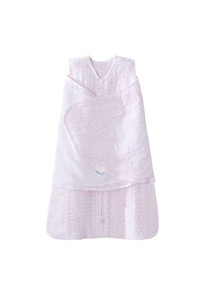 HALO SleepSack Swaddle Small, 100% cotton muslin, Circles Pink