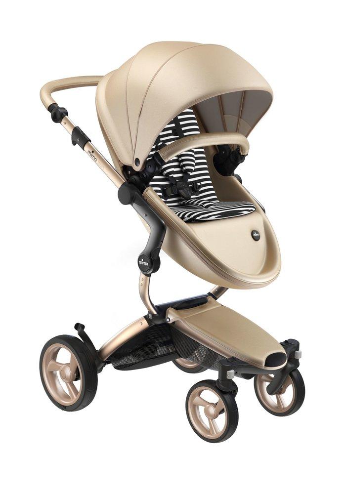 Mima Kids Xari stroller Gold Chassis Gold Seat Black & White Starter Pack