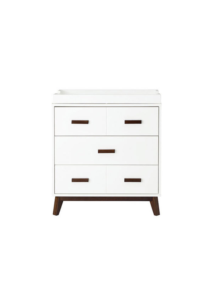 Baby Letto Scoot Dresser With Changer Tray In White With Walnut