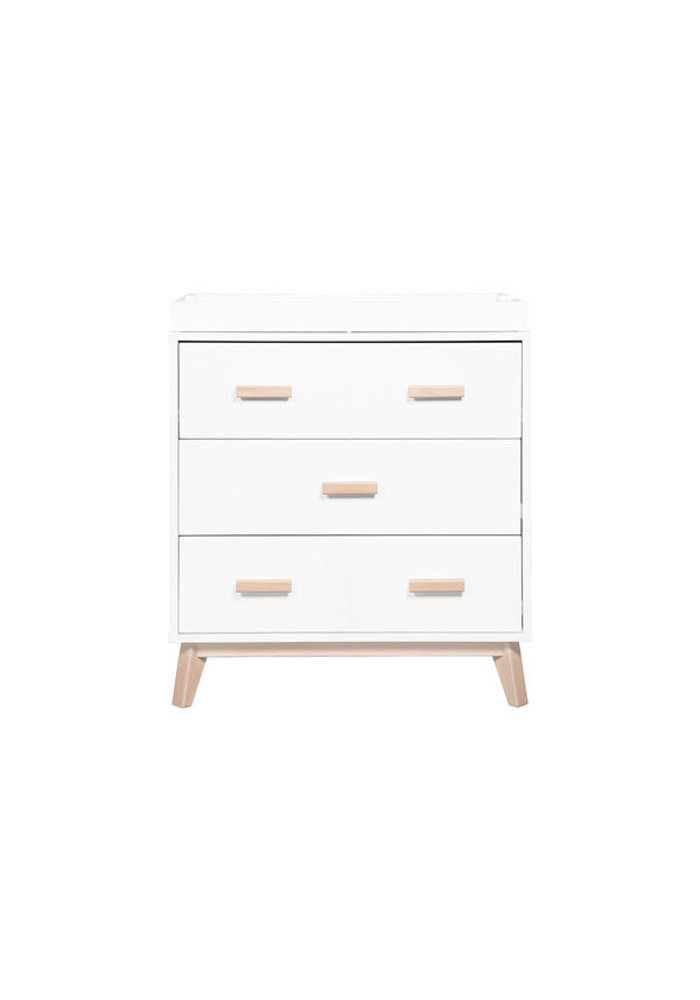 Baby Letto Scoot Dresser With Changer Tray In White-Washed Natural Finish