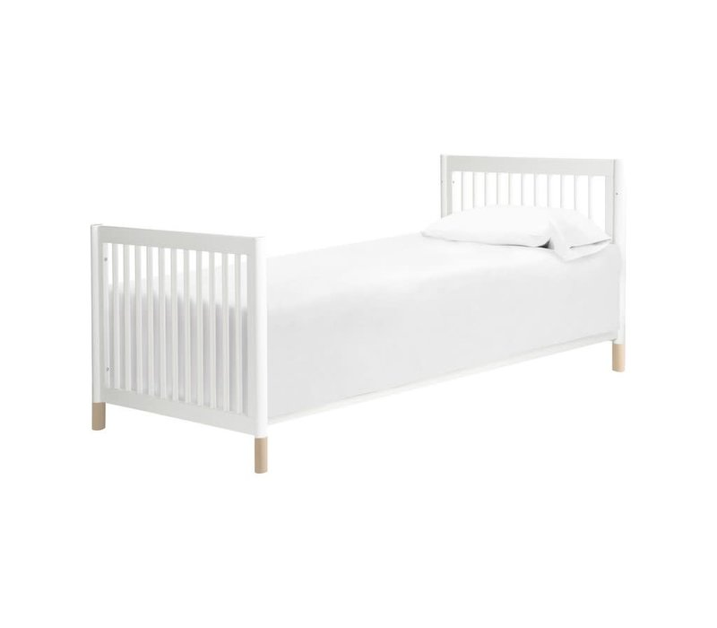 Baby Letto Gelato 2 In 1 Mini Crib In White Finish - With Washed Natural Feet (Pad Included)