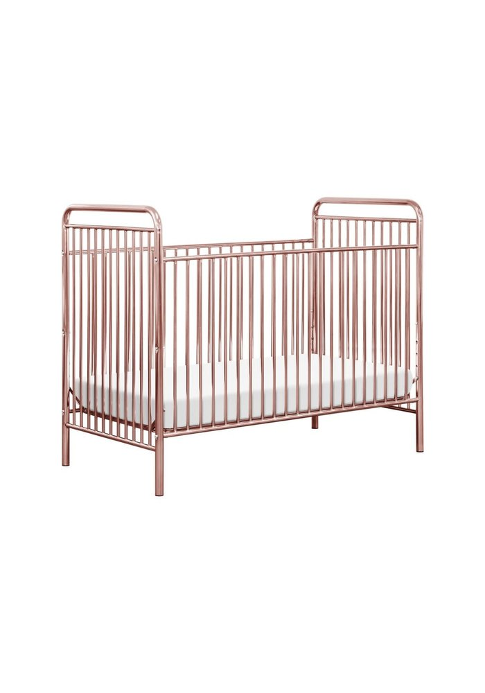 Baby Letto Jubilee 3-in-1 Convertible Metal Crib in Pink Chrome