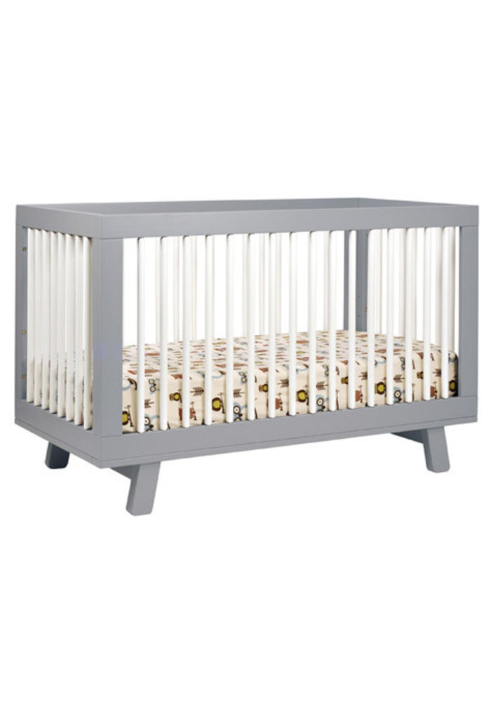 Baby Letto Hudson 3 In 1 Convertible Crib With Toddler Rail In Grey With White