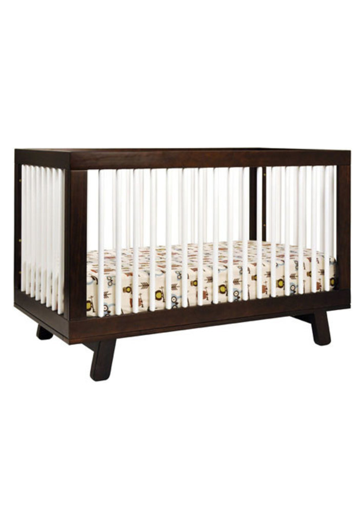 Baby Letto Hudson 3 In 1 Convertible Crib With Toddler Rail In White-Espresso