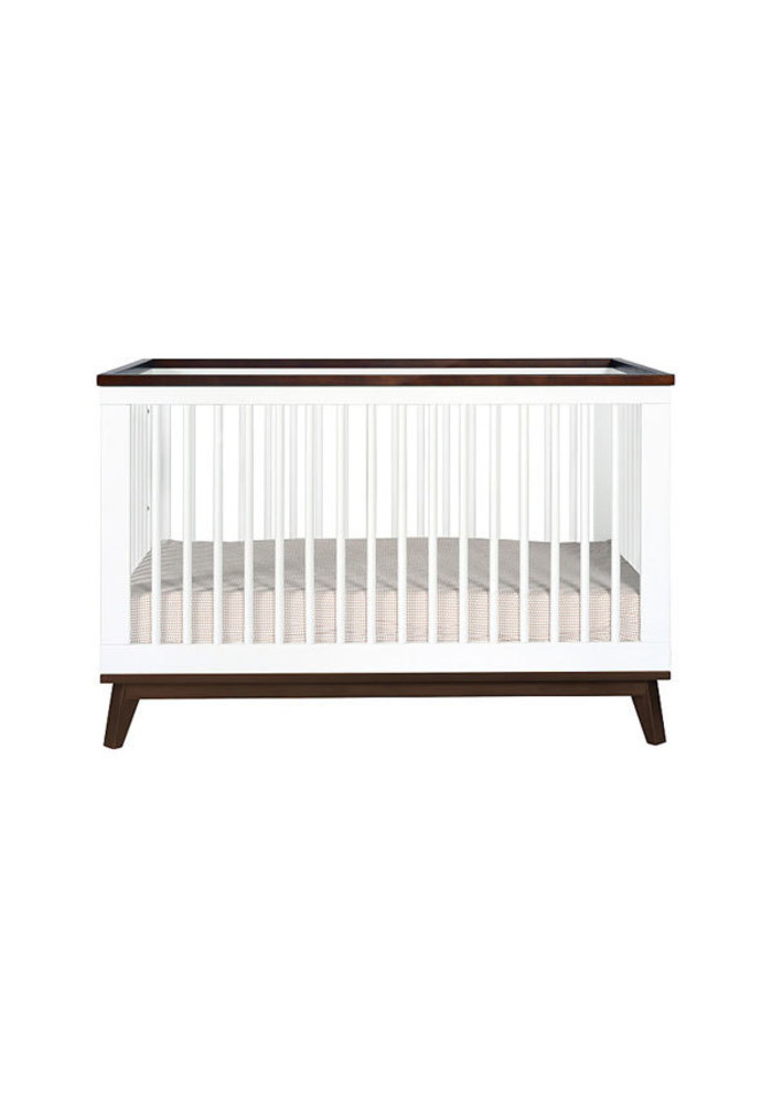 Baby Letto Scoot 3 In 1 Convertible Crib With Toddler Rail In White With Walnut