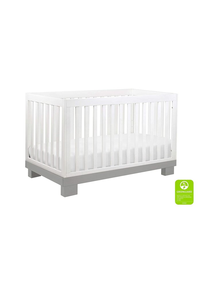Baby Letto Modo 3 In 1 Convertible Crib With Toddler Rail In Gray-White