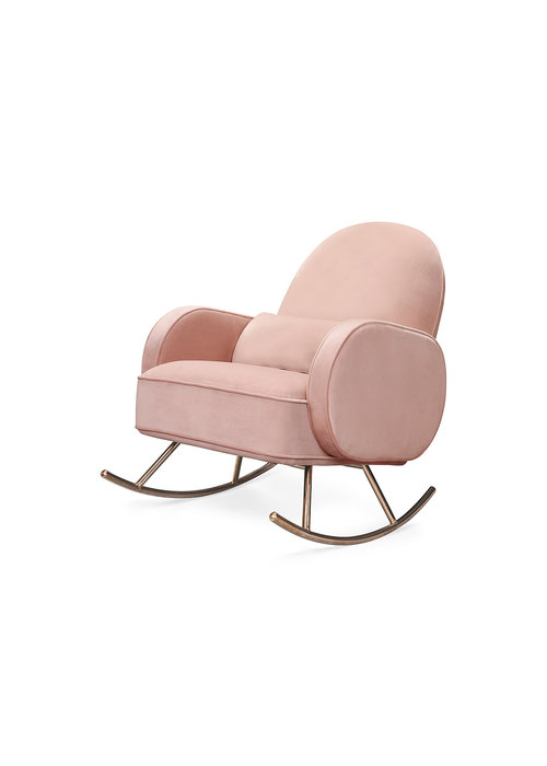 Nursery Works Nursery Works Compass Rocker in Blush Pink Velvet With Rose Gold Legs
