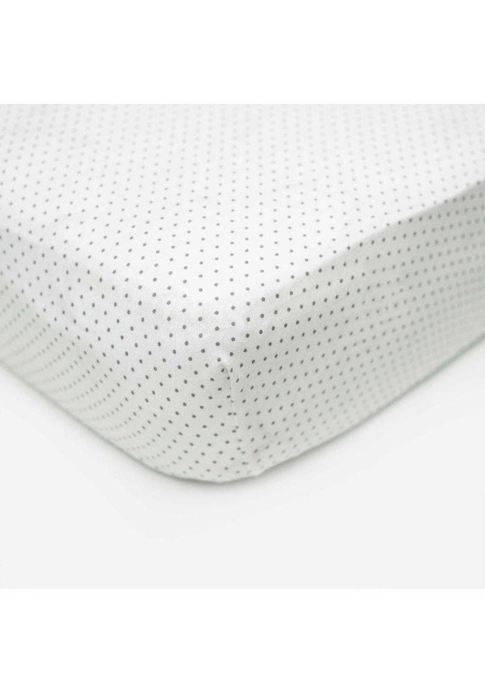 Royal Mark Crib Sheets 100% Cotton In Grey Dot