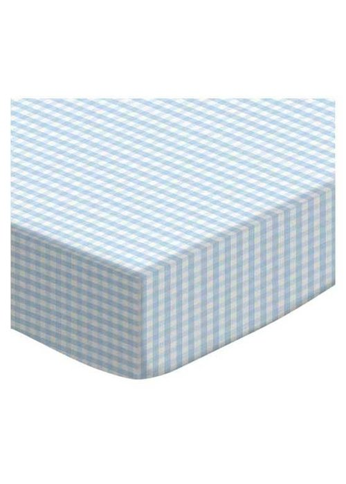 Royal Mark Cradle Sheets Jersey Cotton In Blue Gingham