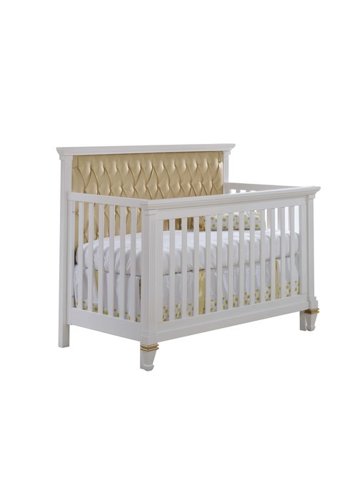 Natart Belmont-Gold 4-in-1 Convertible Crib with Tufted Panel In Gold (w/out rails)