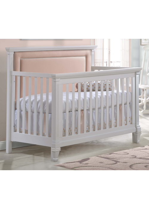 Natart Natart Belmont 4 In 1 Convertible Crib In Pure White With Tufted Panel Blush